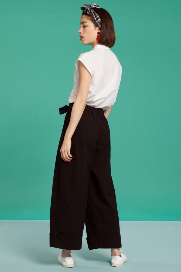 Black Belted Wide-Leg Trousers