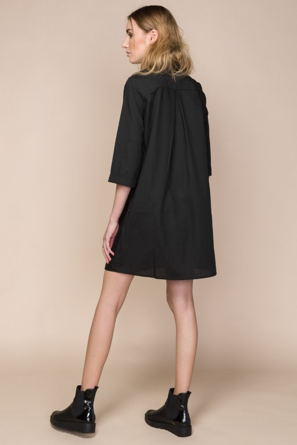 Black Poplin Mini Shirt Dress