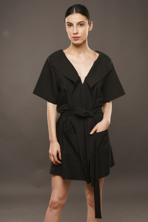 Black Mini Robe Dress