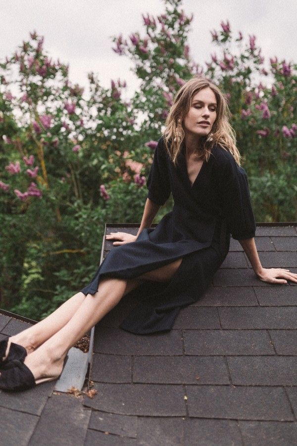 Black Organic Cotton Wrap Dress