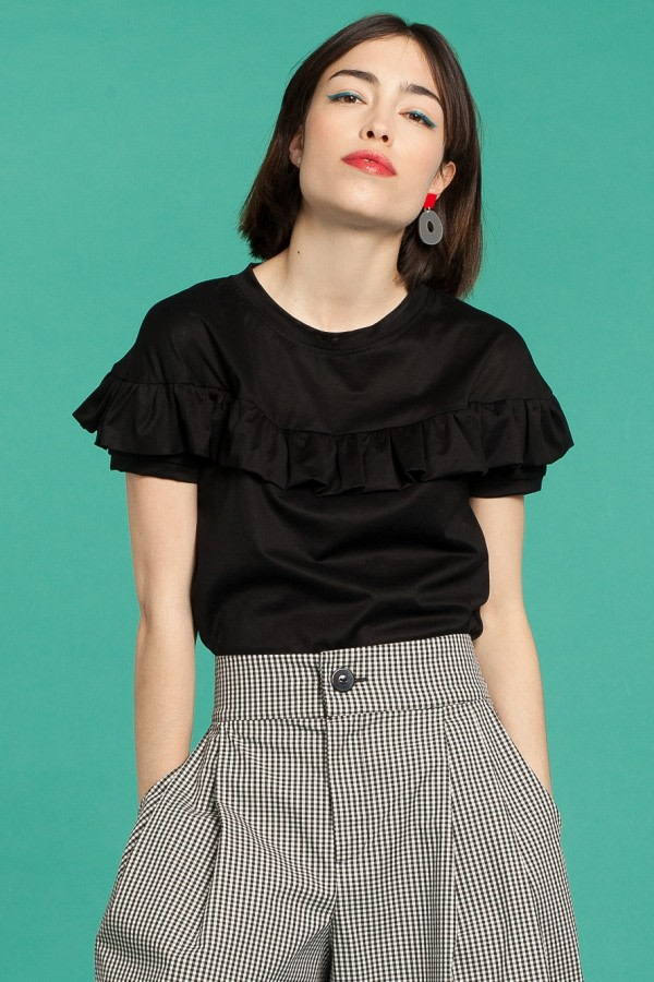 Black Ruffle T-Shirt
