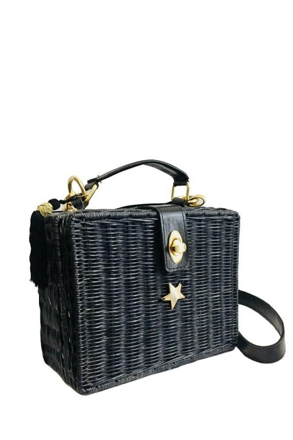 Black Wicker Box Bag