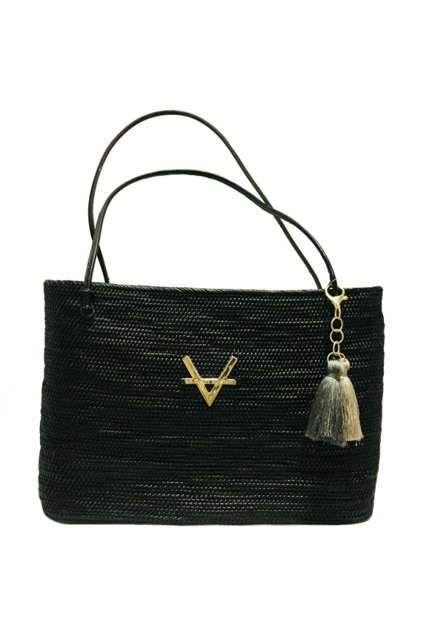 Black Wicker Tote Bag