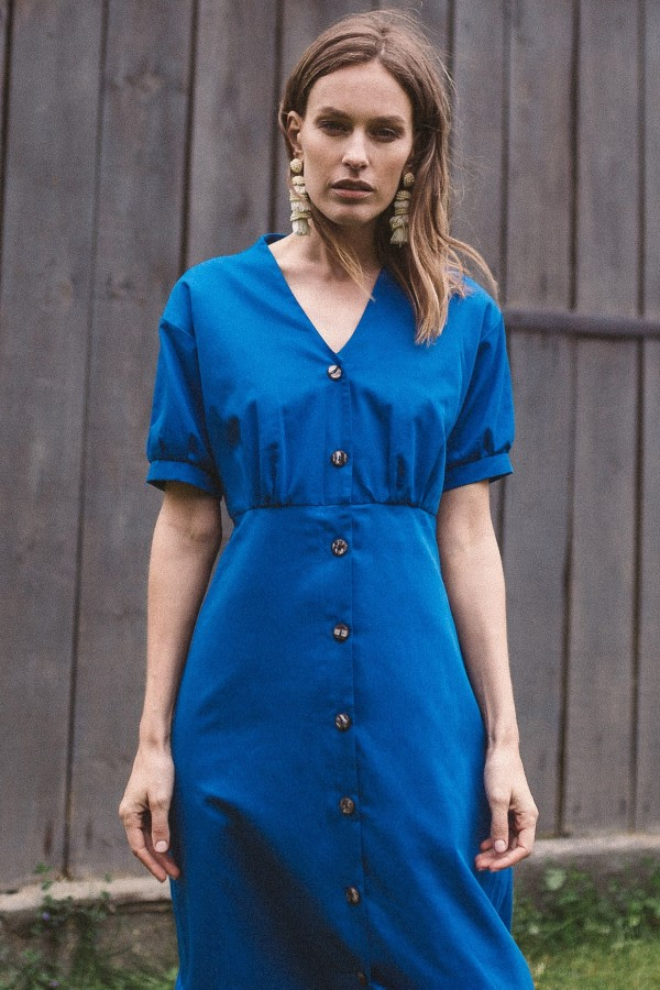 Blue Organic Cotton Mini Dress