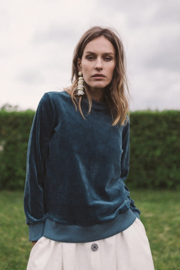 Blue Organic Velour Sweatshirt