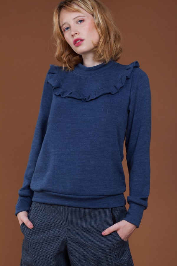 Blue Ruffle Long-Sleeve Sweater