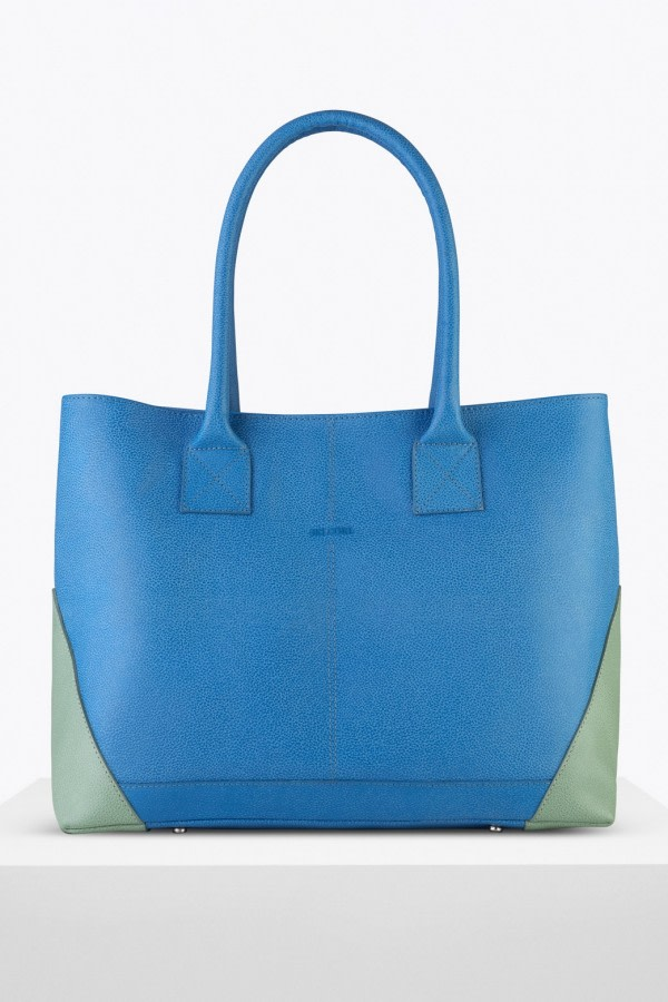 Boheme Blue Leather Tote Bag