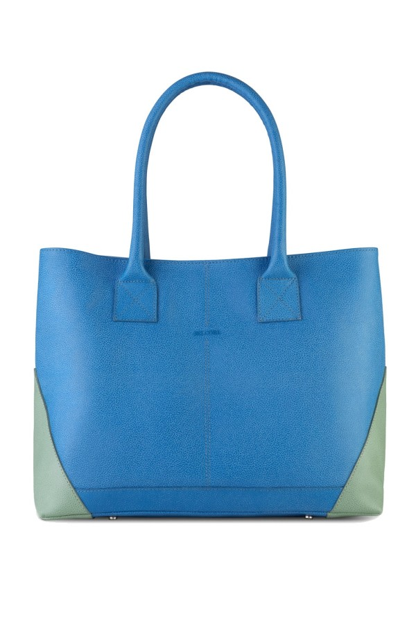 Boheme Blue Leather Tote Bag