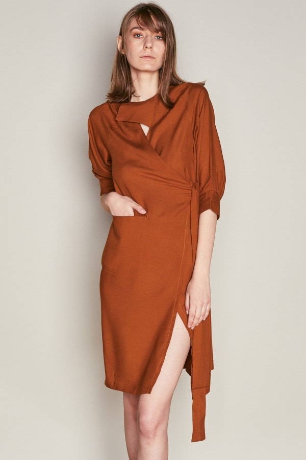 Brown Asymmetric Wrap Dress