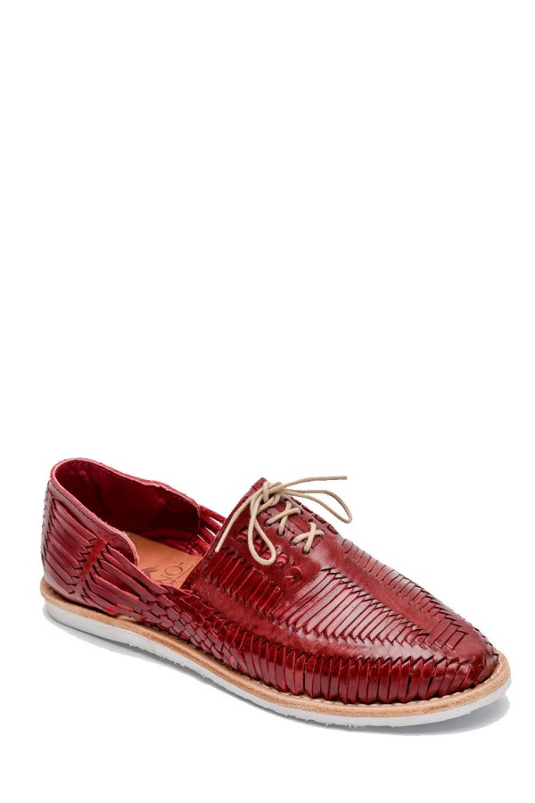 Red Woven Lace-Up Shoes