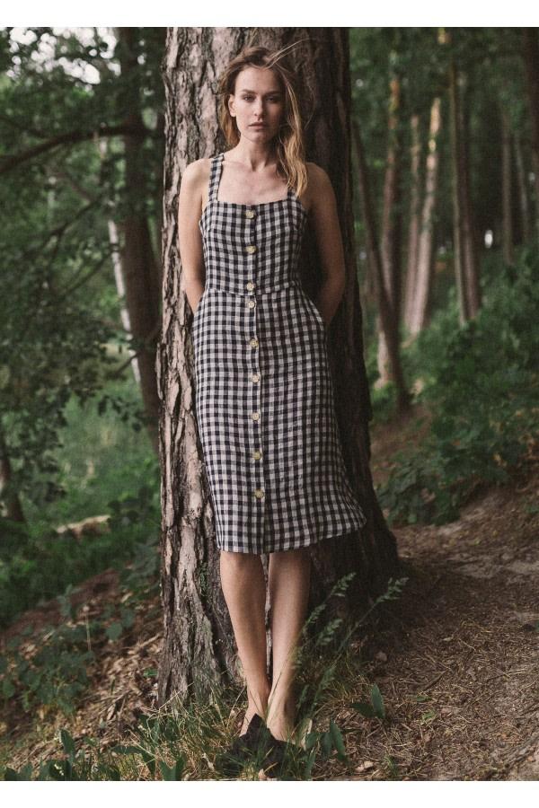 Check Linen Strap Dress