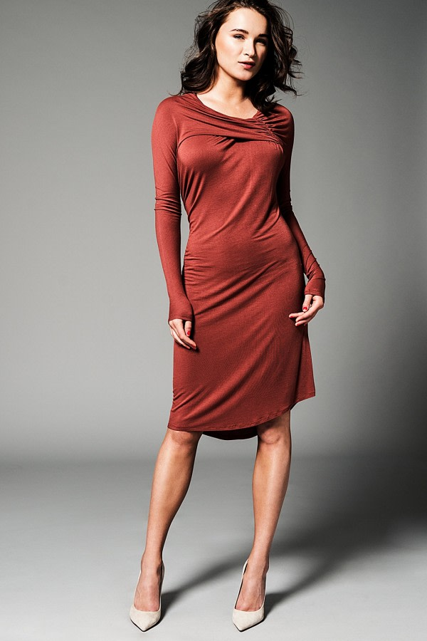 Marsala Asymmetric Bamboo Dress