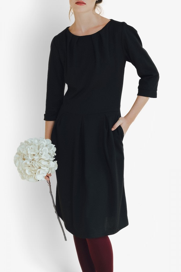 Silene Black Mid Dress