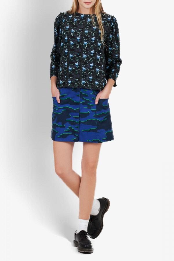 Simplo Camouflage-Print Skirt
