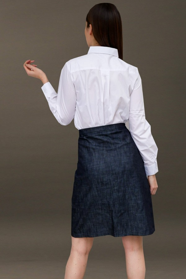 Denim Asymmetric Wrap Skirt