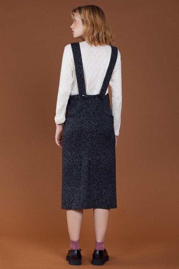 Dot-Print Overall Midi Dress