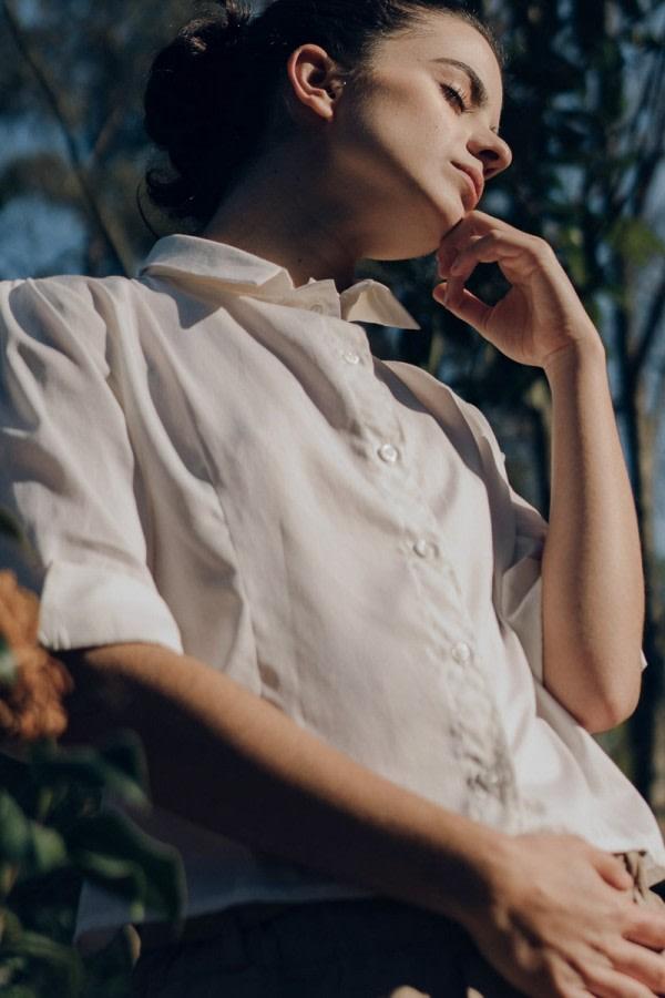 Eco Open-Back White Shirt