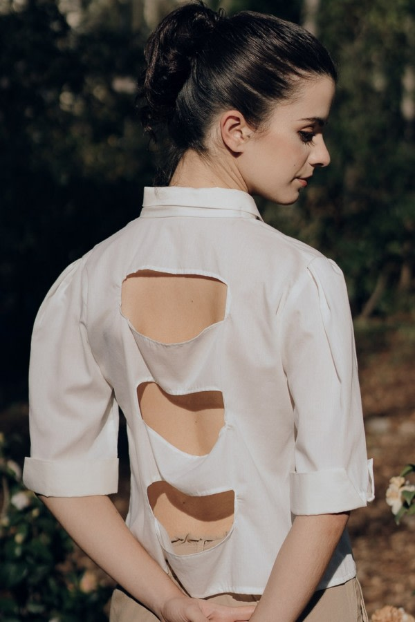 Eco Open-Back White Shirt