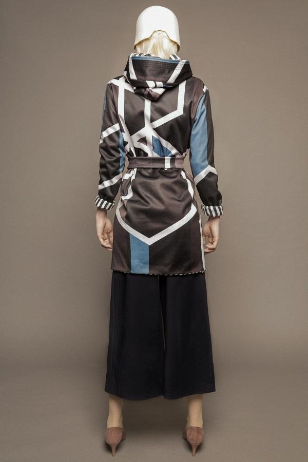 Geometric-Print Hooded Raincoat