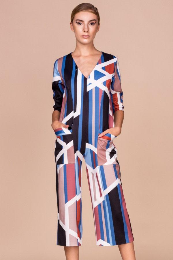 Geometric-Print Jumpsuit