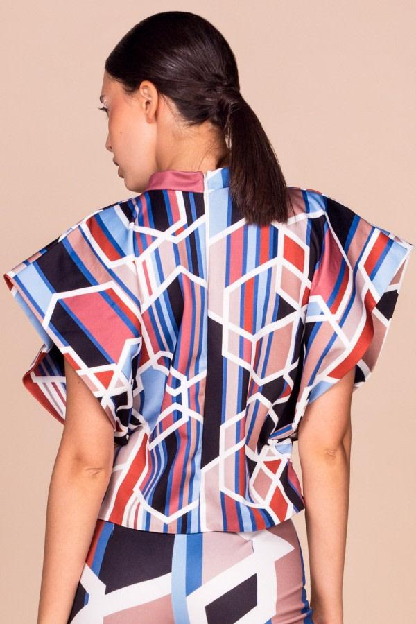 Geometric-Print Kimono Top