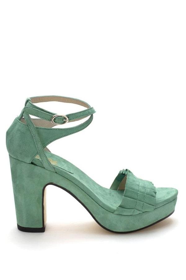 Green Ruffle Platform Sandals