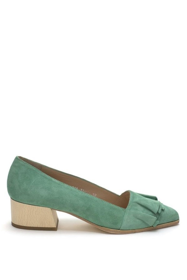 Green Ruffle Suede Pumps