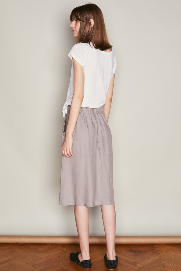 Grey A-Line Midi Skirt