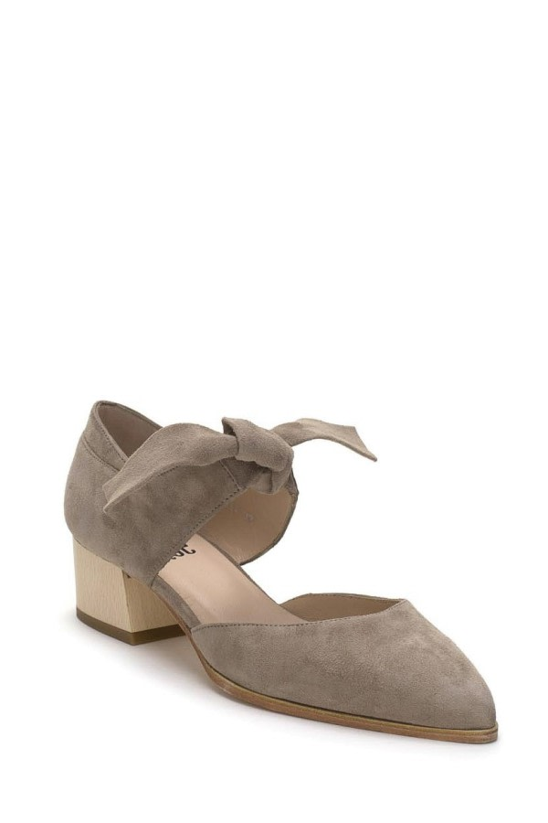 Grey Bow Suede Pumps