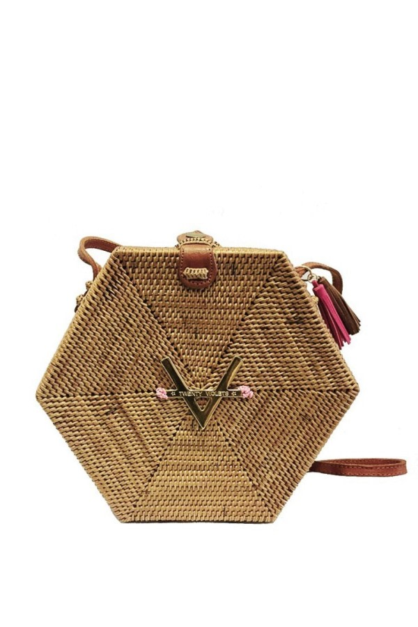 Hexagon Rattan Crossbody Bag
