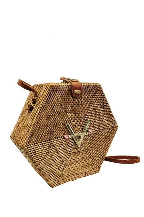 Hexagon Rattan Crossbody Bag