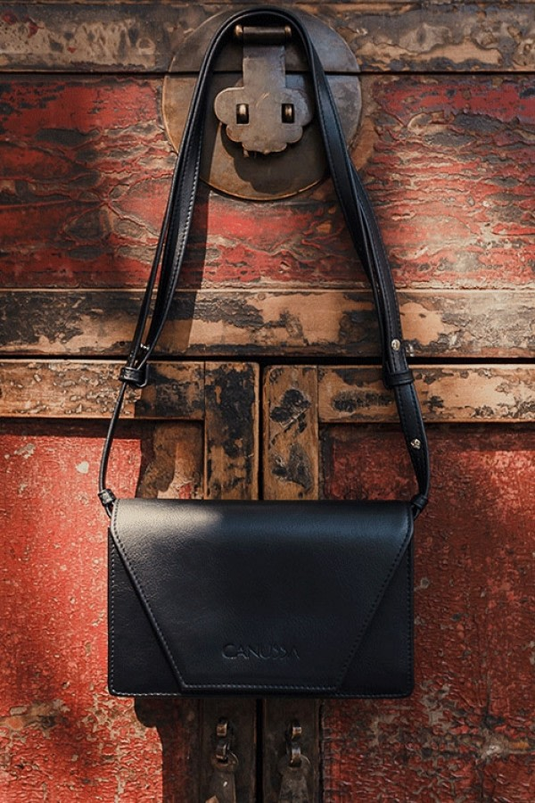 Hybrid Black Vegan Leather Bag