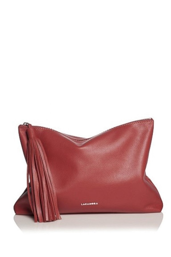 Red Tassel Leather Clutch