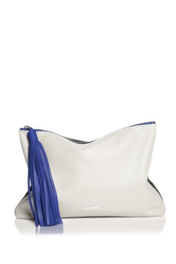 Tri-Color Tassel Leather Clutch