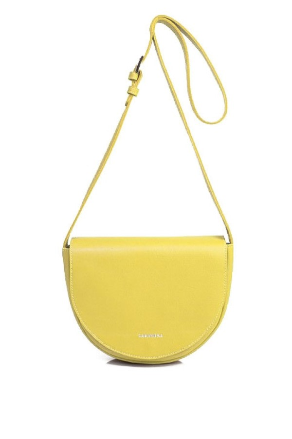 Yellow Leather Saddle Bag