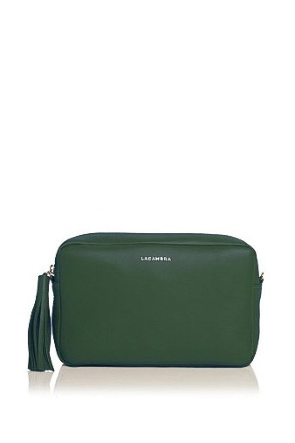Pine Green Leather Crossbody Bag