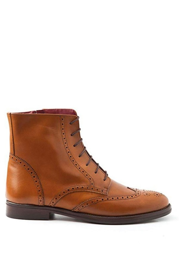 Lace-Up Brogue Ankle Boots
