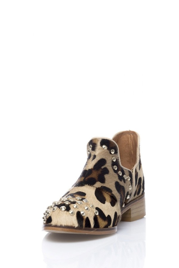 Leopard-Print Studded Ankle Boots