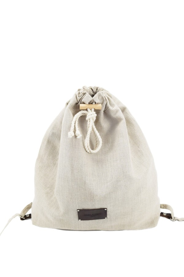 Linen Drawstring Backpack