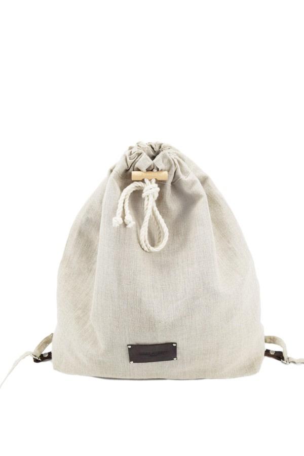 Linen Drawstring Backpack