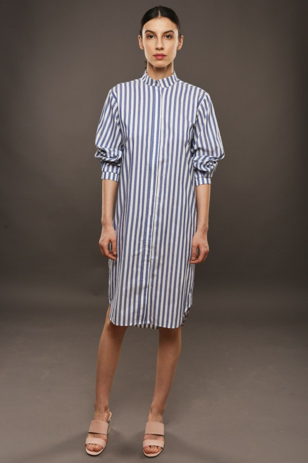 Loose-Fit Striped Shirt Dress