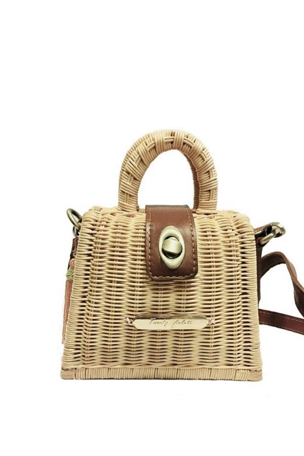 Natural Top-Handle Raffia Bag