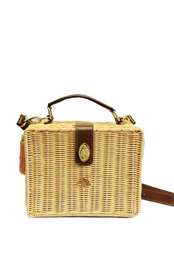 Natural Wicker Box Bag