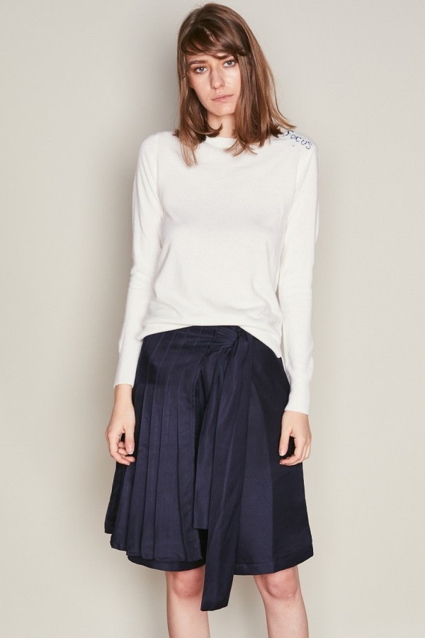Navy Asymmetric Wrap Shorts