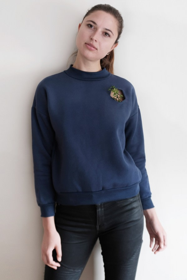 Navy Mock-Neck Jumper