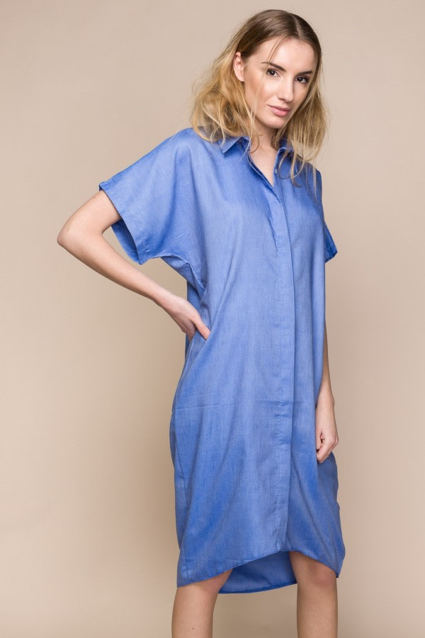 Oversized Denim Shirt Dress