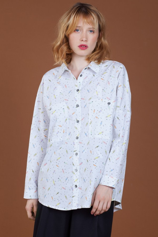 Pencil-Print Oversized Shirt