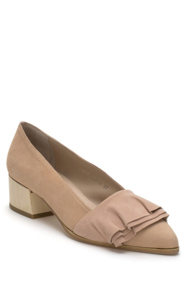 Suede Ruffled Pumps
