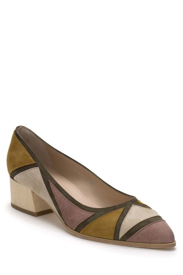 Geometric Suede Pumps