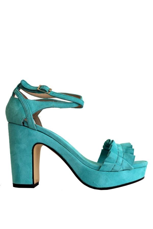 Ruffle Suede Platform Sandals